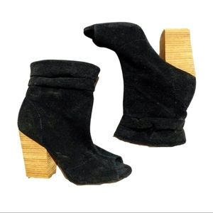 Cato Black Vegan Suede Peep Toe Slouch Ankle Boot